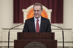 Chancellor Kent Syverud said Syracuse University rejects white supremacy, respects the diversity of the university community and believes in free speech and nonviolent discourse.